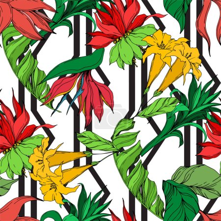 Illustration for Vector Exotic tropical hawaiian summer. Palm beach tree leaves jungle botanical flowers. Black and white engraved ink art. Seamless background pattern. Fabric wallpaper print texture. - Royalty Free Image