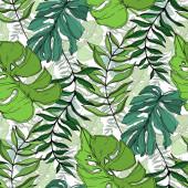 """Постер, картина, фотообои """"Вектор Палм пляж дерево покидает джунгли ботанические. Черно-белые выгравированные чернила искусства. Бесшовный фоновый шаблон."""""""