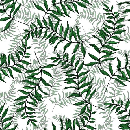 Illustration for Vector Exotic tropical hawaiian summer. Palm beach tree leaves jungle botanical. Black and white engraved ink art. Seamless background pattern. Fabric wallpaper print texture. - Royalty Free Image