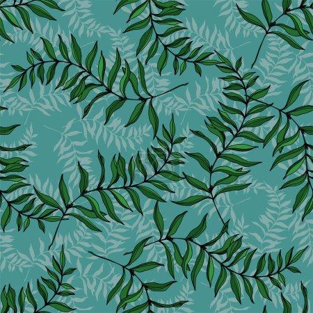 Illustration pour Vector Exotic tropical hawaiian été. L'arbre de plage de palmier laisse la jungle botanique. Art d'encre gravé noir et blanc. Modèle de fond sans couture. Texture d'impression de papier peint de tissu. - image libre de droit