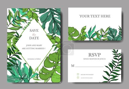Photo for Vector Palm beach tree leaves jungle botanical. Black and white engraved ink art. Wedding background card decorative border. Thank you, rsvp, invitation elegant card illustration graphic set banner. - Royalty Free Image