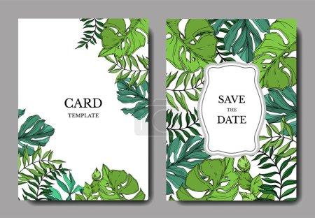 Illustration for Vector Palm beach tree leaves jungle botanical. Black and white engraved ink art. Wedding background card decorative border. Thank you, rsvp, invitation elegant card illustration graphic set banner. - Royalty Free Image