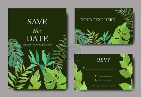 Illustration for Vector Palm beach tree leaves jungle botanical. Black and white engraved ink art. Wedding background card decorative border. Thank you, rsvp, invitation elegant card illustration graphic set banner. - Royalty Free Image