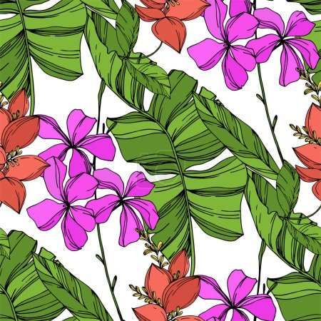 Illustration for Vector Exotic tropical hawaiian summer. Palm beach tree leaves jungle botanical plant. Black and white engraved ink art. Seamless background pattern. Fabric wallpaper print texture. - Royalty Free Image