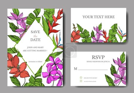 Illustration for Vector Palm beach tree leaves. Black and white engraved ink art. Wedding background card floral decorative border. Thank you, rsvp, invitation elegant card illustration graphic set banner. - Royalty Free Image
