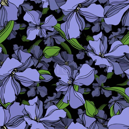 Illustration for Vector Flax floral botanical flowers. Wild spring leaf wildflower isolated. Black and white engraved ink art. Seamless background pattern. Fabric wallpaper print texture. - Royalty Free Image