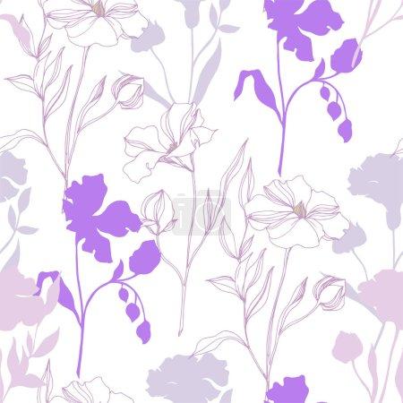 Ilustración de Flores botánicas florales vectores de lino. Hoja de primavera silvestre wildflower aislado. Arte de tinta grabada en blanco y negro. Patrón de fondo sin costuras. Textura de impresión de fondo de pantalla de tela. - Imagen libre de derechos