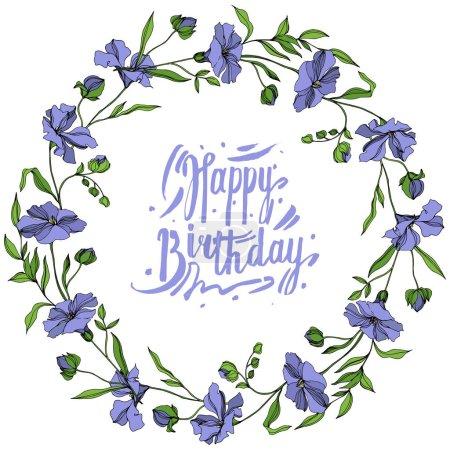 Vecteur Fleurs botaniques florales de lin. Encre gravée en noir et blanc. Cadre bordure ornement carré .