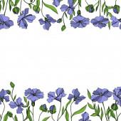 """Постер, картина, фотообои """"Векторный льняцветочные ботанические цветы. Черно-белые выгравированные чернила искусства. Рама границы орнамент площади."""""""