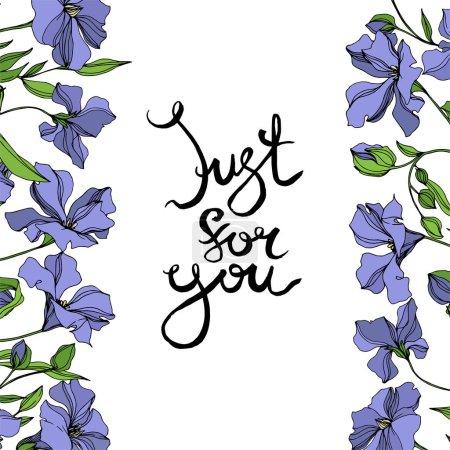 Illustration pour Vecteur Fleurs botaniques florales de lin. Feuille sauvage de printemps fleur sauvage isolée. Encre gravée en noir et blanc. Cadre bordure ornement carré sur fond blanc . - image libre de droit