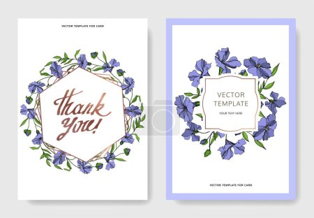 Illustration for Vector Flax floral botanical flowers. Black and white engraved ink art. Wedding background card floral decorative border. Thank you, rsvp, invitation elegant card illustration graphic set banner. - Royalty Free Image