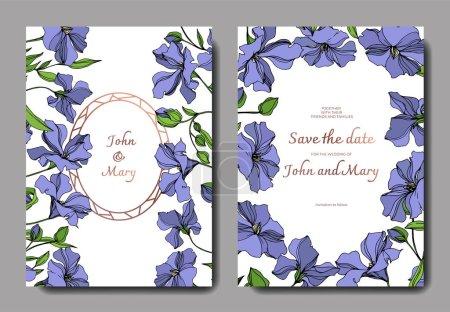 Illustration for Vector Flax floral botanical flowers. Black and white engraved ink art. Wedding background card floral decorative border. Thank you, rsvp, invitation elegant card illustration graphic set banner. - Royalty Free Image