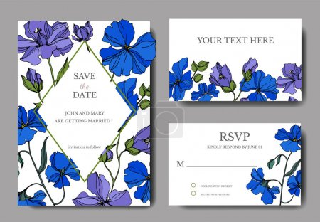 Vector Flax floral botanical flowers. Black and white engraved ink art. Wedding background card decorative border.