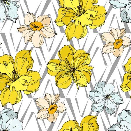 Illustration pour Vector Narcissus fleurs botaniques florales. Fleur sauvage de neige sauvage de feuille de source d'isolement. Art d'encre gravé noir et blanc. Modèle de fond sans couture. Texture d'impression de papier peint de tissu. - image libre de droit