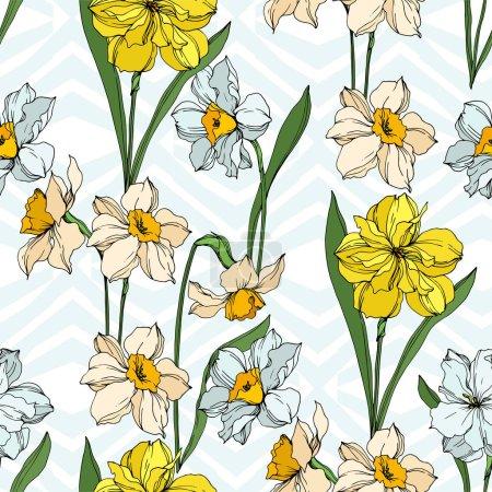 Illustration pour Vecteur Narcisse fleurs botaniques florales. Feuille sauvage de printemps fleur sauvage isolée. Encre gravée en noir et blanc. Modèle de fond sans couture. Texture d'impression papier peint tissu . - image libre de droit