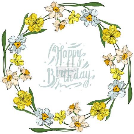Illustration pour Vector Narcissus fleurs botaniques florales. Fleur sauvage de neige sauvage de feuille de source d'isolement. Art d'encre gravé noir et blanc. Carré d'ornement de bordure de cadre sur le fond blanc. - image libre de droit