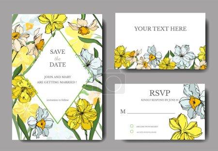 Illustration for Vector Narcissus floral botanical flowers. Black and white engraved ink art. Wedding background card floral decorative border. Thank you, rsvp, invitation elegant card illustration graphic set banner. - Royalty Free Image