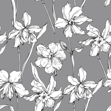 Illustration for Vector Narcissus floral botanical flowers. Wild spring leaf wildflower isolated. Black and white engraved ink art. Seamless background pattern. Fabric wallpaper print texture. - Royalty Free Image
