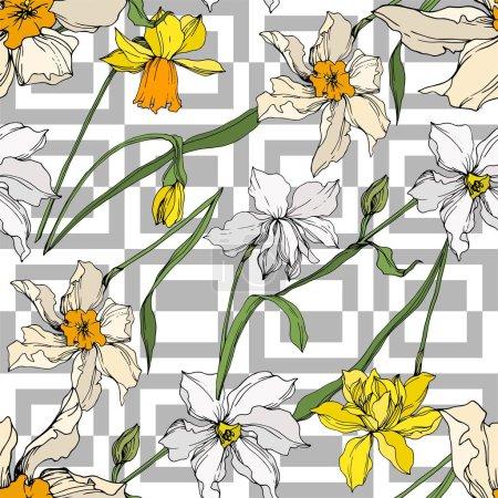 Ilustración de Vector Narcissus flores botánicas florales. Hoja de primavera silvestre wildflower aislado. Arte de tinta grabada en blanco y negro. Patrón de fondo sin costuras. Textura de impresión de fondo de pantalla de tela. - Imagen libre de derechos