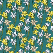 Vector Narcissus floral botanical flowers. Black and white engraved ink art. Seamless background pattern.