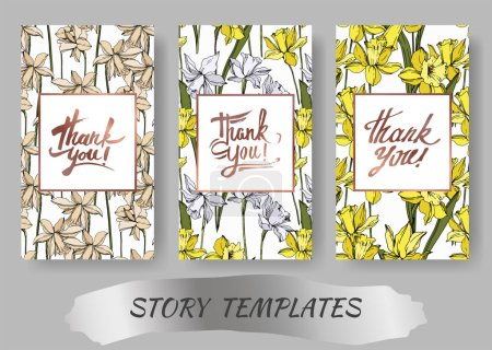 Illustration for Vector Narcissus floral botanical flowers. Black and white engraved ink art. Wedding background card floral decorative border. Thank you, rsvp, invitation elegant card illustration graphic set banner. - Royalty Free Image