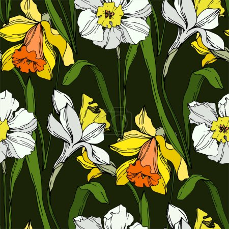 Illustration for Vector Narcissus floral botanical flower. Wild spring leaf wildflower isolated. Black and white engraved ink art. Seamless background pattern. Fabric wallpaper print texture. - Royalty Free Image
