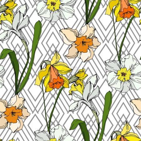 Illustration pour Vector floral botanique fleur du Narcisse. Wildflower de feuille de printemps sauvage isolé. Noir et blanc gravé art d'encre. Motif de fond transparente. Impression texture de tissu papier peint. - image libre de droit
