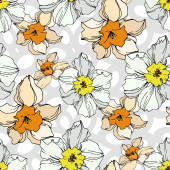 Vector Narcissus floral botanical flower Black and white engraved ink art Seamless background pattern