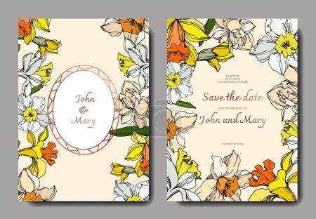 Illustration for Vector Narcissus floral botanical flower. Black and white engraved ink art. Wedding background card decorative border. Thank you, rsvp, invitation elegant card illustration graphic set banner. - Royalty Free Image