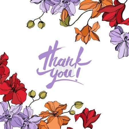 Illustration pour Fleurs botaniques florales d'orchidée. Fleur sauvage de neige sauvage de feuille de source d'isolement. Art d'encre gravé noir et blanc. Carré d'ornement de bordure de cadre sur le fond blanc. - image libre de droit