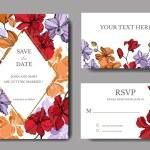 Orchid floral botanical flowers. Black and white engraved ink art. Wedding background card floral decorative border.