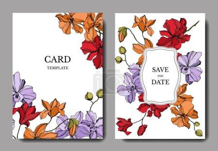 Illustration for Orchid floral botanical flowers. Black and white engraved ink art. Wedding background card floral decorative border. Thank you, rsvp, invitation elegant card illustration graphic set banner. - Royalty Free Image