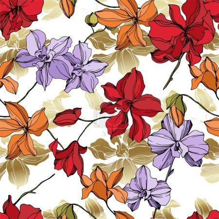Ilustración de Flores botánicas florales de orquídeas. Hoja de primavera silvestre wildflower aislado. Arte de tinta grabada en blanco y negro. Patrón de fondo sin costuras. Textura de impresión de fondo de pantalla de tela. - Imagen libre de derechos