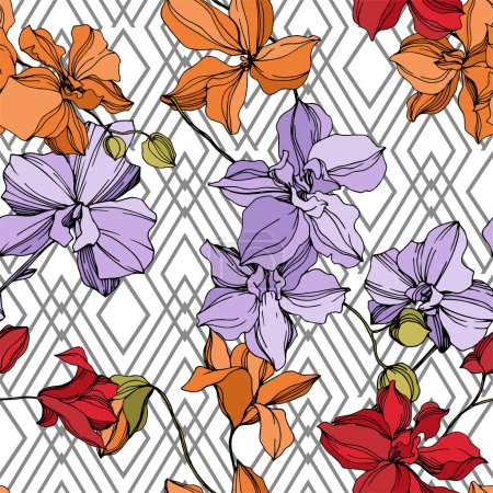 Illustration for Orchid floral botanical flowers. Wild spring leaf wildflower isolated. Black and white engraved ink art. Seamless background pattern. Fabric wallpaper print texture. - Royalty Free Image