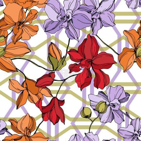 Illustration pour Fleurs botaniques florales d'orchidée. Fleur sauvage de neige sauvage de feuille de source d'isolement. Art d'encre gravé noir et blanc. Modèle de fond sans couture. Texture d'impression de papier peint de tissu. - image libre de droit