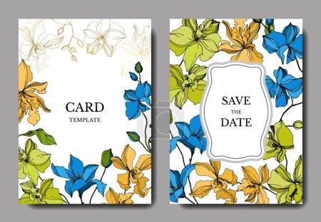 Illustration for Vector Orchid floral botanical flowers. Black and white engraved ink art. Wedding background card floral decorative border. Thank you, rsvp, invitation elegant card illustration graphic set banner. - Royalty Free Image