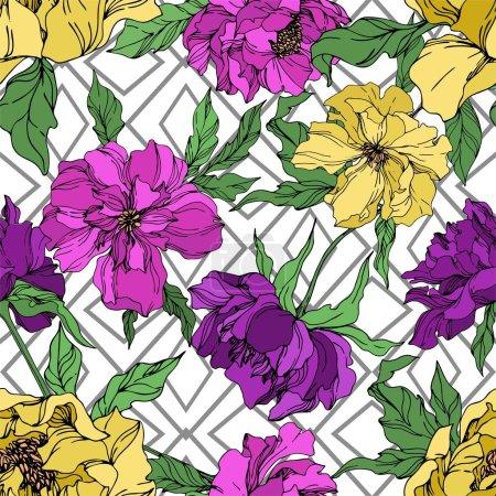 Illustration pour Fleurs botaniques florales pivoines. Fleur sauvage de neige sauvage de feuille de source d'isolement. Art d'encre gravé noir et blanc. Modèle de fond sans couture. Texture d'impression de papier peint de tissu. - image libre de droit