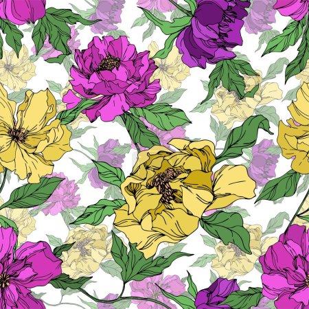 Ilustración de Flores botánicas florales de Peonía. Hoja de primavera silvestre wildflower aislado. Arte de tinta grabada en blanco y negro. Patrón de fondo sin costuras. Textura de impresión de fondo de pantalla de tela. - Imagen libre de derechos