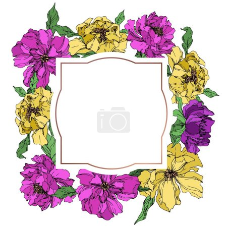 Illustration for Peony floral botanical flowers. Wild spring leaf wildflower isolated. Black and white engraved ink art. Frame border ornament square on white background. - Royalty Free Image