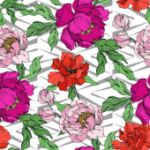 Peony floral botanical flowers Black and white engraved ink art Seamless background pattern