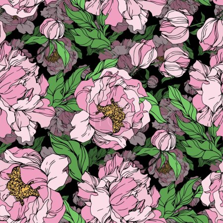 Peony floral botanical flowers. Black and white engraved ink art. Seamless background pattern.