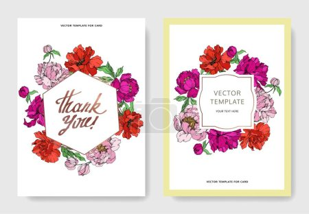 Illustration for Peony floral botanical flowers. Wild spring leaf wildflower isolated. Black and white engraved ink art. - Royalty Free Image
