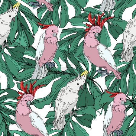 Illustration for Vector Sky bird cockatoo in a wildlife. Wild freedom, bird with a flying wings. Black and white engraved ink art. Seamless background pattern. Fabric wallpaper print texture. - Royalty Free Image