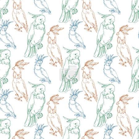 Illustration pour Vector Cacatoès des oiseaux du ciel dans une faune sauvage. Liberté sauvage, oiseau aux ailes volantes. Encre gravée en noir et blanc. Modèle de fond sans couture. Texture d'impression papier peint tissu . - image libre de droit