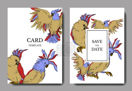 Illustration for Vector Sky bird cockatoo in a wildlife isolated. Black and white engraved ink art. Wedding background card decorative border. Thank you, rsvp, invitation elegant card illustration graphic set banner. - Royalty Free Image