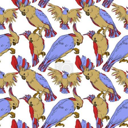 Illustration pour Vector Cacatoès des oiseaux du ciel dans une faune isolée. Liberté sauvage, oiseau aux ailes volantes. Encre gravée en noir et blanc. Modèle de fond sans couture. Texture d'impression papier peint tissu . - image libre de droit