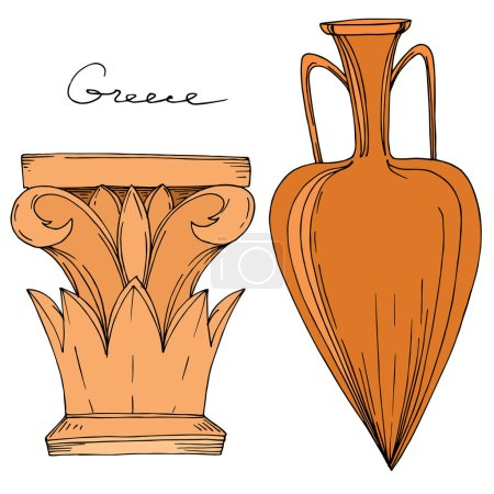 Illustration for Vector Antique greek amphoras and columns. Black and white engraved ink art. Isolated ancient illustration element on white background. - Royalty Free Image