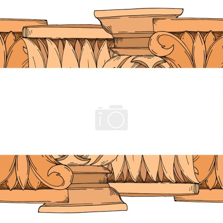 Illustration for Vector Antique greek columns. Black and white engraved ink art. Frame border ornament square on white background. - Royalty Free Image