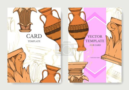 Illustration for Vector Antique greek amphoras and columns. Black and white engraved ink art. Wedding background card decorative border. Thank you, rsvp, invitation elegant card illustration graphic set banner. - Royalty Free Image