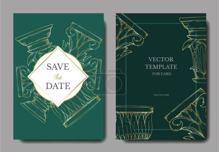 Illustration for Vector Antique greek columns. Black and white engraved ink art. Wedding background card decorative border. Thank you, rsvp, invitation elegant card illustration graphic set banner. - Royalty Free Image